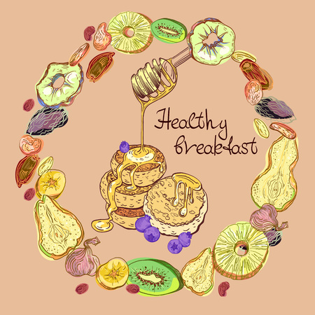 Dehydrated fruits and pancakes with honey and blueberrys in round pattern. Sweet breakfast vector illustration with lettering. 일러스트