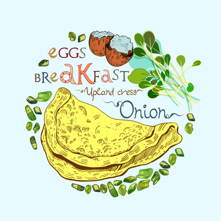 Omelette or scrambled eggs vector illustration with onion and salad leaves in engraved style. Signed with lettering.