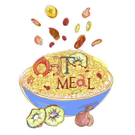 Cereal with dehydrated fruits in dishes. Healthy food breakfast. Fully editable vector illustration with lettering.