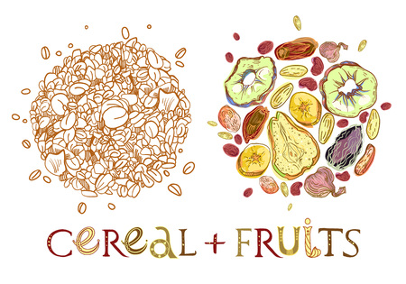 Cereal with dehydrated fruits round shape pattern. Healthy food breakfast. Fully editable vector illustration with lettering. 일러스트