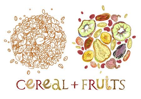 Müsli mit dehydrierten Früchten runde Form Muster. Gesundes Frühstück. Voll editierbare Vektorillustration mit Beschriftung. Vektorgrafik