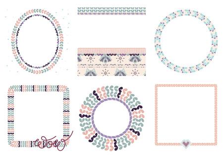 Cornici di ornamento a maglia di vettore con pennelli ad anelli ricamati e punti a forma di cuore in colori tenui. Set con ghirlande e scritte ricamate. Tela di procione lavorata a maglia.