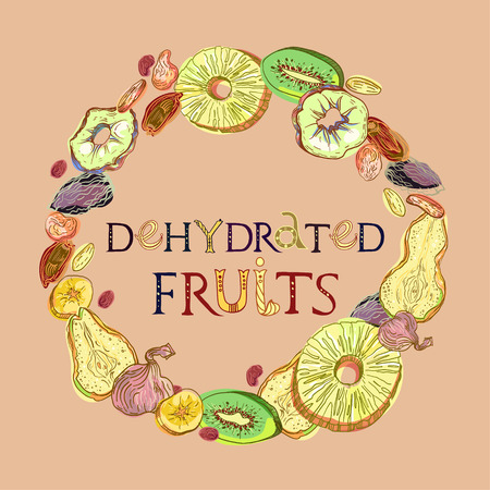 Dehydrated fruits wreath pattern. Fully editable vector illustration with lettering.