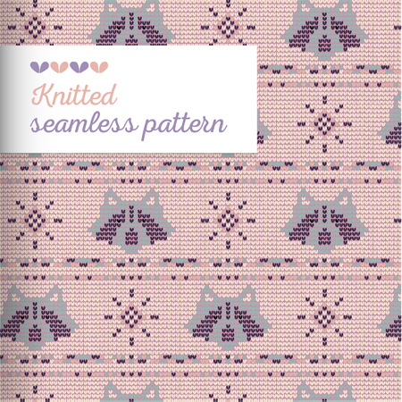 Knitted vector seamless ornament pattern with coon, snowflake, needlework loops and stitches in pale colors.