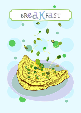 Breakfast cover with scrambled eggs, onion and salad in engraved style. Fully editable vector illustration. Figured table with breakfast lettering.