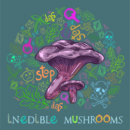 Paxil mushroom in engraved style. Fully editable vector mushroom illustration with warning icons, nature elements and lettering. Illustration