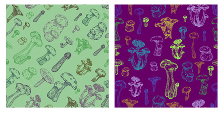 Edible mushroom seamless pattern in engraved style. Vector illustration for backgrounds.