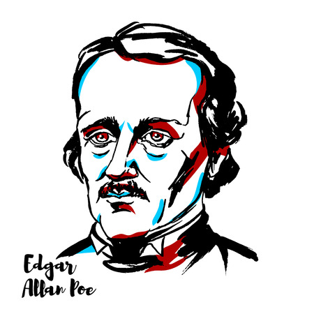 Edgar Allan Poe engraved vector portrait with ink contours. American writer, editor, and literary critic. Illustration