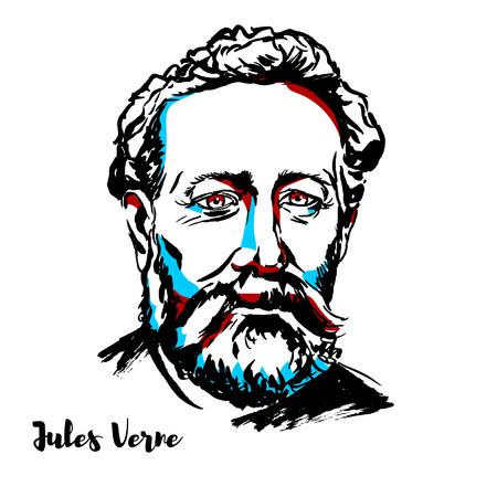 Portrait vectoriel gravé Jules Verne avec contours à l'encre. Romancier, poète et dramaturge français.