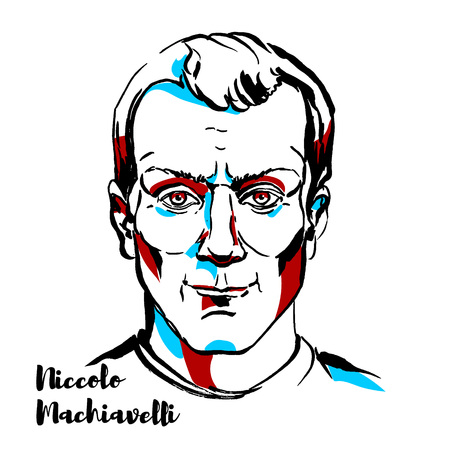 Niccolo Machiavelli engraved vector portrait with ink contours. Italian diplomat, politician, historian, philosopher, humanist, writer, playwright and poet of the Renaissance period. Illustration