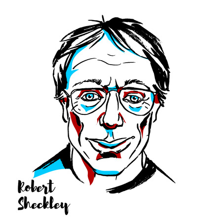 MOSCOW, RUSSIA - SEPTEMBER 26, 2018: Robert Sheckley engraved vector portrait with ink contours. American writer.