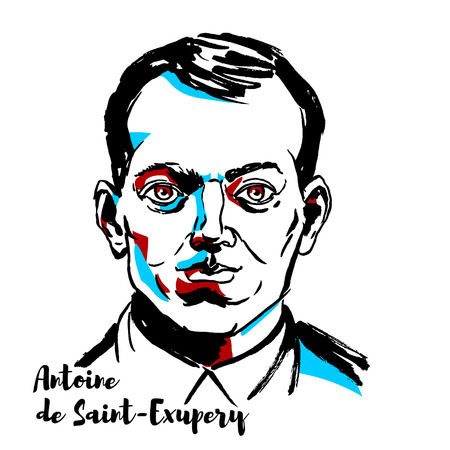 MOSCOW, RUSSIA - SEPTEMBER 26, 2018: Antoine de Saint-Exupery engraved vector portrait with ink contours. French writer, poet, aristocrat, journalist, and pioneering aviator. Vector Illustration