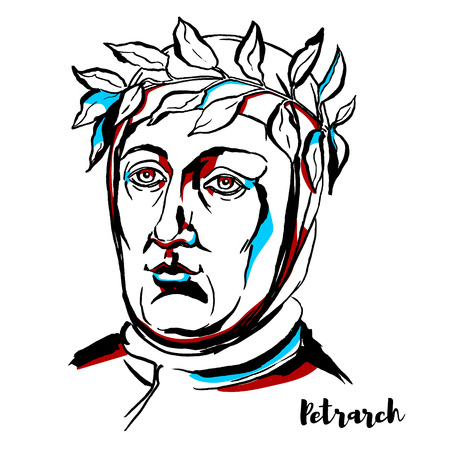 Petrarch engraved vector portrait with ink contours. scholar and poet of Renaissance Italy who was one of the earliest humanists.