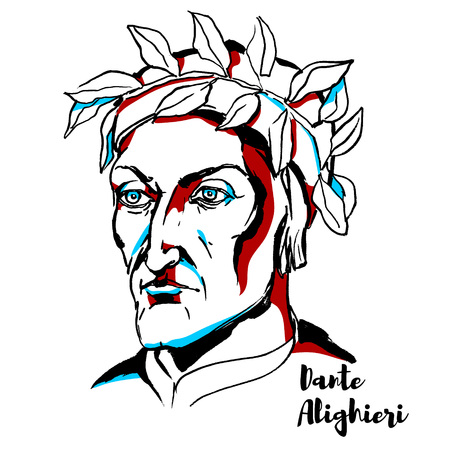 Dante Alighieri engraved vector portrait with ink contours. Major Italian poet of the Late Middle Ages.