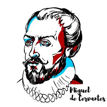 Miguel de Cervantes gravierte Vektorporträt mit Tintenkonturen. Spanischer Schriftsteller, der weithin als der größte Schriftsteller der spanischen Sprache und als einer der bedeutendsten Romanautoren der Welt gilt.