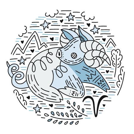Signos vectoriales del zodíaco - constelación de aries como un cerdo, símbolo de 2019. Icono geométrico dibujado a mano en estilo decorativo.