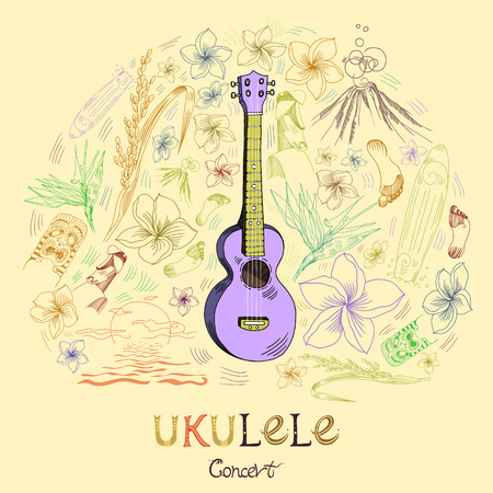 Hawaiian guitar - ukulele concert in round shape pattern in engraved style. Violet ukulele is in the center of composition and pattern elements are around. Signed with lettering.