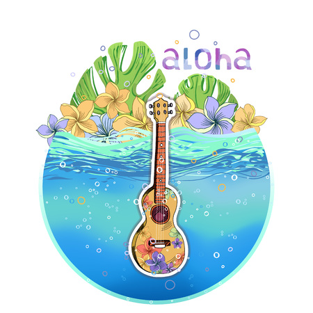 Hand drawn vector round shape Hawaiian postcard with water layer, ukulele, palm leaves and plumeria flowers. Signed with lettering.
