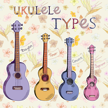 Set of vector ukuleles on hawaiian floral pattern backgrouns. Signed with lettering.
