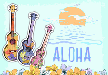 Hand drawn vector postcard with Hawaiian symbols. Three different ukuleles and aloha Hawaii lettering with floral plumeria frame. Suitable for postcard design, posters and banners.