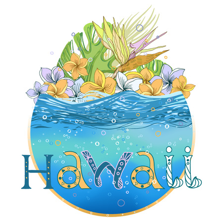 Hand drawn vector round shape Hawaiian postcard with water layer, bubbles and floral composition. Signed with lettering.