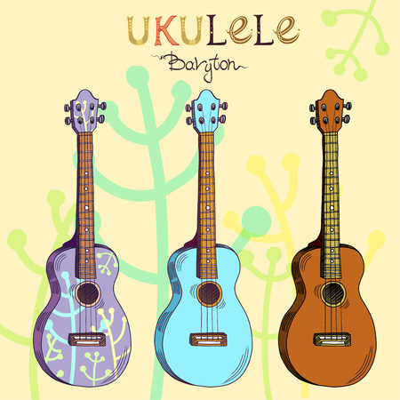 Vector illustration with traditional Hawaiian guitar ukulele baryton in three different versions: wood, color and pattern. Signed with lettering. Illustration