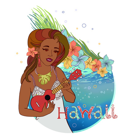 Hand drawn vector round shape Hawaiian postcard with water layer and Hawaiian girl playing red ukulele. There are plumeria blossoms and palm leaves on the background. Signed with lettering.