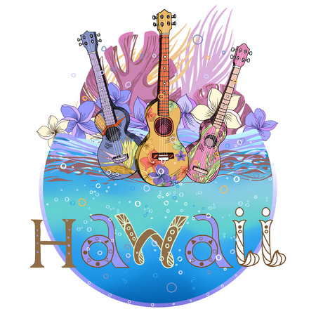 Hand drawn vector round shape Hawaiian postcard with water layer, ukulele and floral composition. Signed with lettering. Vector Illustration