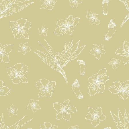 Hawaiian tropical floral seamless pattern with footprints in pale colors. Usefool for background design and textile or wallpapers. Archivio Fotografico - 110220107