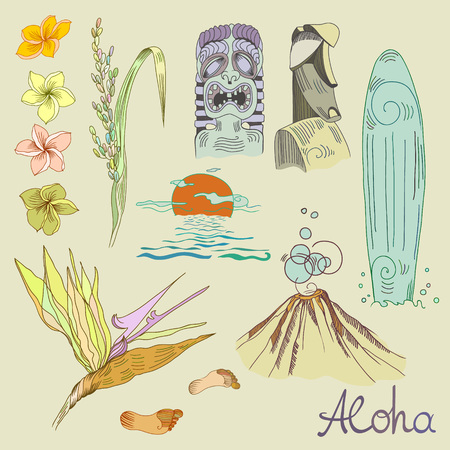 Hawaiian symbols set in engraved stile with lettering. Illustration