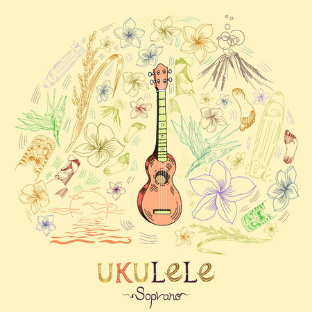 Hawaiian guitar - ukulele soprano in round shape pattern in engraved style. Pale orange ukulele is in the center of composition and pattern elements are around. Signed with lettering.