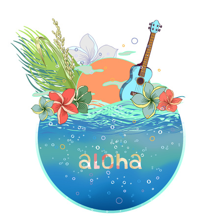 Hand drawn vector round shape Hawaiian postcard with water layer and ukulele. There are sunset and floral composition with plumeria, rice and palm leaves on the background. Signed with lettering. Illustration