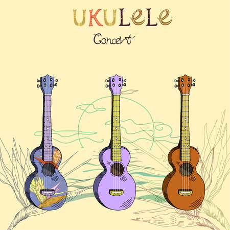 Vector illustration with traditional Hawaiian guitar ukulele concert in three different versions: wood, color and pattern. Signed with lettering.