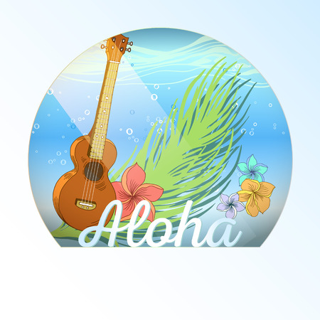 Hand drawn vector round shape Hawaiian layered postcard with water layer, ukulele, palm leaves and plumeria flowers. Signed with lettering.