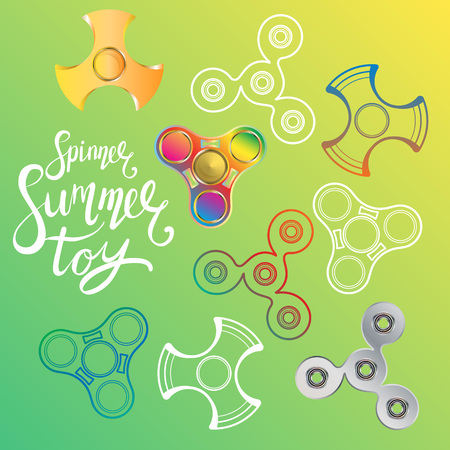 Fidget spinner hand drawn vector illustration with several shapes and calligraphy lettering in bright colors on green background. Contoured and realistic spinner toys.