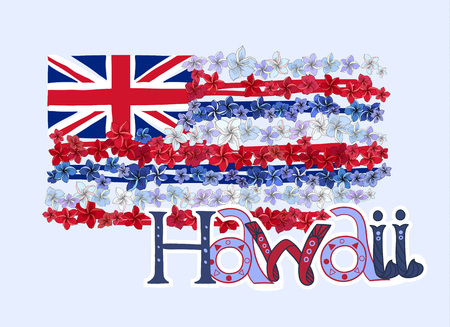 Hawaiian flag made with plumeria flower leis. Blue, red and white blossoms in engraved style with lettering.