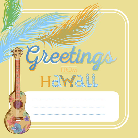 Hand drawn vector Hawaiian vintage postcard with ukulele and palm leaves. Signed with lettering. Illustration