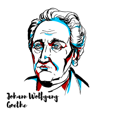 Johann Wolfgang von Goethe engraved vector portrait with ink contours. German writer and statesman. Stock Illustratie