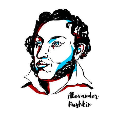 Alexander Pushkin engraved vector portrait with ink contours. Russian poet, playwright, and novelist of the Romantic era, the founder of modern Russian literature.