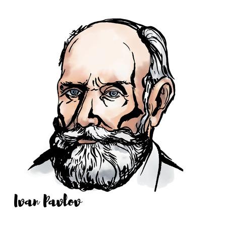 Portrait de vecteur aquarelle Ivan Pavlov avec contours d'encre. Physiologiste russe connu principalement pour ses travaux sur le conditionnement classique.