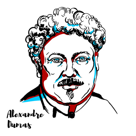 Alexandre Dumas engraved vector portrait with ink contours. Famous french writer, author of The Count of Monte Cristo & The Three Musketeers. Illustration