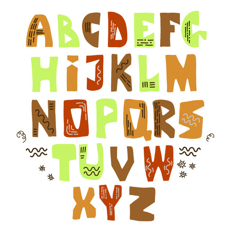 Vector funny comic font with doodles. Hand drawn capital colorful cartoon alphabet with capital latin letters.