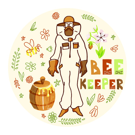 Hand drawn ink vector illustration with beekeeper and honey. Figure of beekeepers in protective outfit with honey barrel inside round doodle composition. Illustration