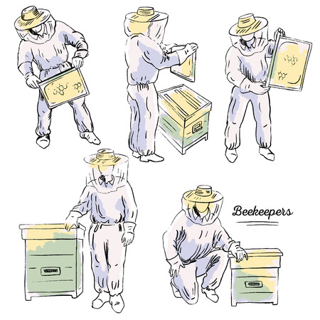 Hand drawn ink vector illustration with beekeepers and beehives. Several figures of beekeepers in protective outfit with honeycomb near the beehive.