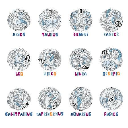 12 constelación de signes del vector del zodíaco como un cerdo, símbolo de 2019. Dibujado a mano icono geométrico en estilo decorativo con letras. Para horóscopos y calendarios.