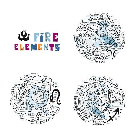 Constelación de signes del vector del zodíaco como un cerdo, símbolo de 2019 agrupado por elementos de fuego. Dibujado a mano icono geométrico en estilo decorativo con letras. Para horóscopos y calendarios.