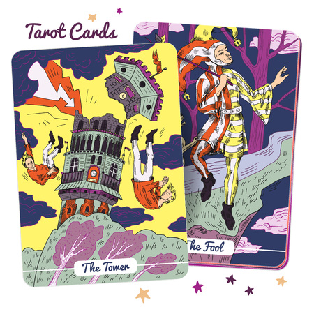 Tarot card Major Arcana  - The Tower and The Fool. Hand drawn vector illustration in engraved style. In occult tarot, it is two of the 22 Major Arcana.