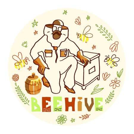 Hand drawn ink vector illustration with beekeeper and honey. Figure of beekeepers in protective outfit with honeycomb inside round doodle composition.