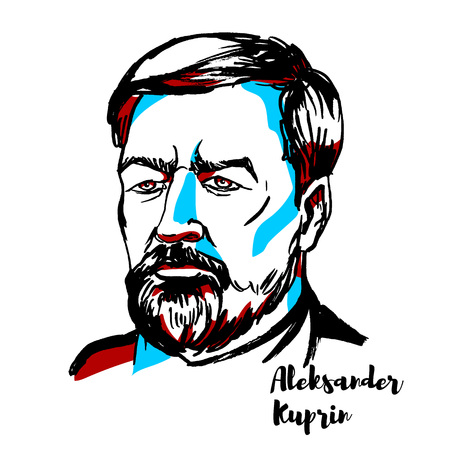 Aleksandr Kuprin engraved vector portrait with ink contours. Russian writer best known for his novel The Garnet Bracelet. Illustration