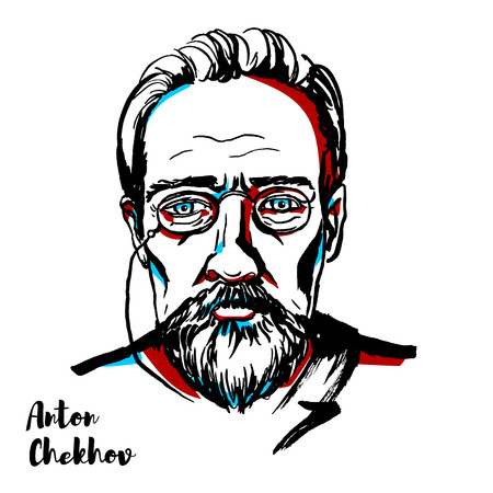 Anton Chekhov engraved vector portrait with ink contours. Russian playwright and short-story writer, who is considered to be among the greatest writers of short fiction in history. Ilustrace